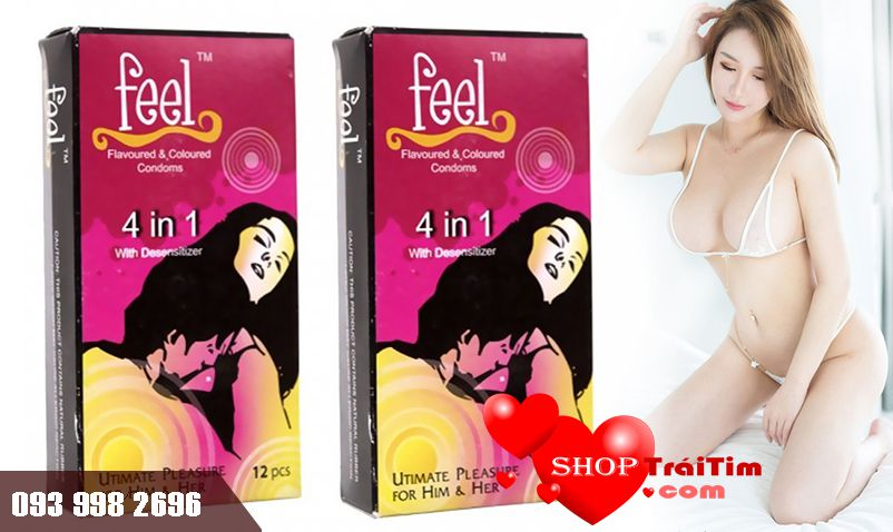 Bao Cao Su Feel Ultimate Pleasure For Him & Her 4 in 1 - 4 M1