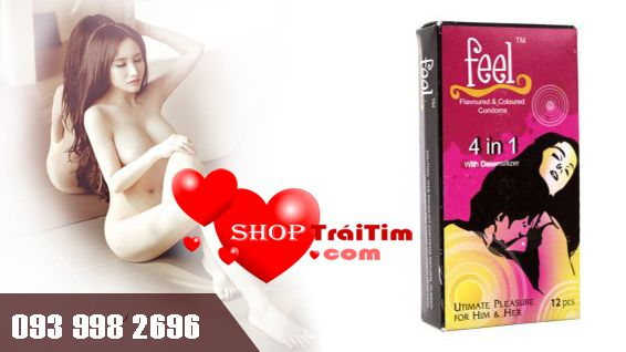 Bao Cao Su Feel Ultimate Pleasure For Him & Her 4 in 1 - 4 M3