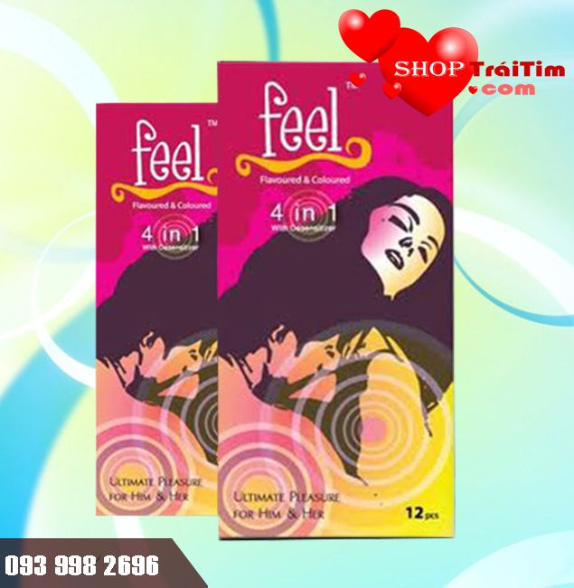 Bao Cao Su Feel Ultimate Pleasure For Him & Her 4 in 1 - 4 M5