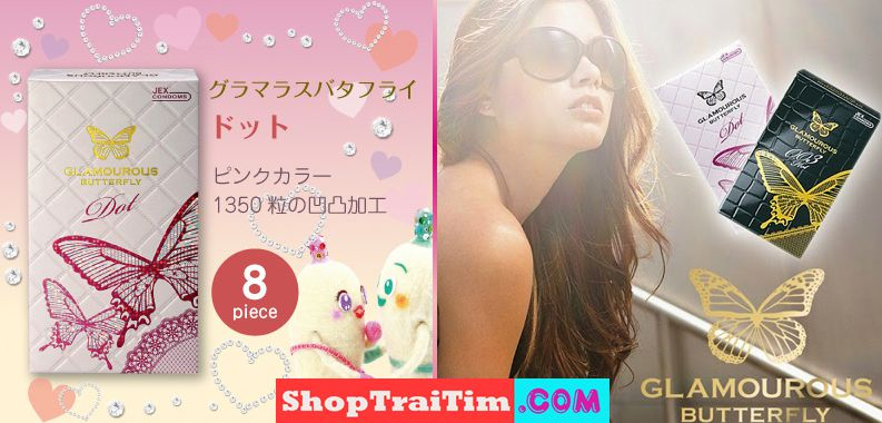 Bao Cao Su Jex Glamourous Butterfly Dot Made In Japan Hạt Ngọc Trai 4
