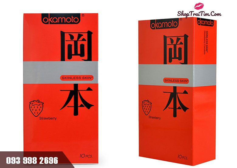 Bao cao su Okamoto Skinless Skin Strawberry hương dâu