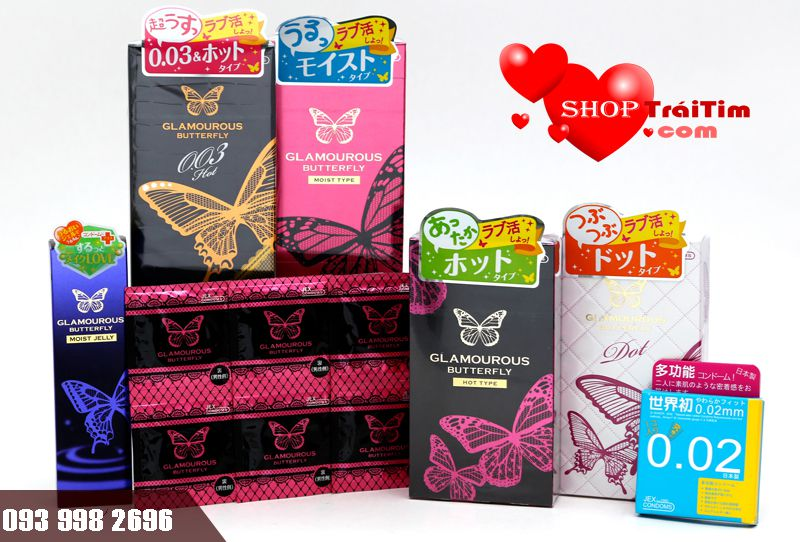 bao cao su Jex Glamourous Butterfly Moist Type tạo cảm giác chân thật nhất