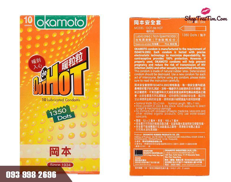 Bao cao su Okamoto Hot Dot sản xuất từ cao su thiên nhiên