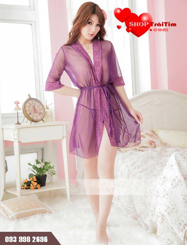 với váy ngủ siêu mỏng xuyên thấu violet dress không lỗi mốt