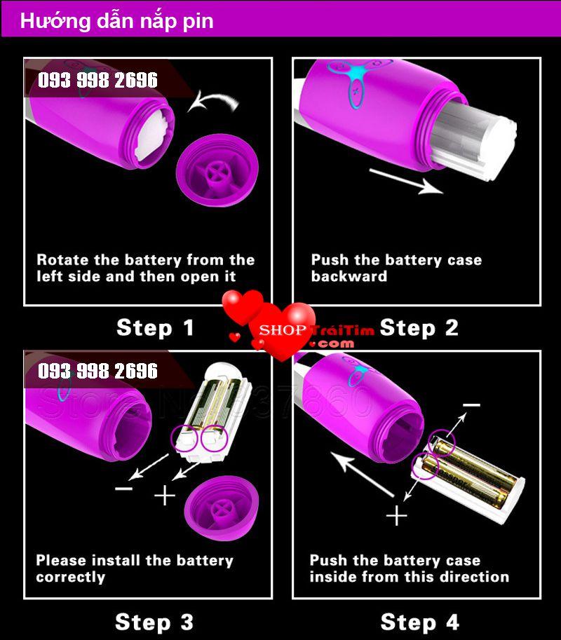 cách nắp pin dương vật giả violet