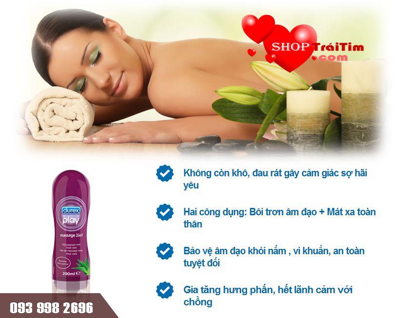 không còn khô rát với gel bôi trơn durex play massage 2in1