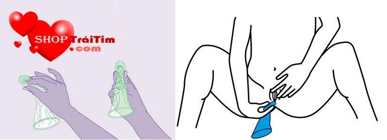 cách sử dụng bao cao su nữ bước 2