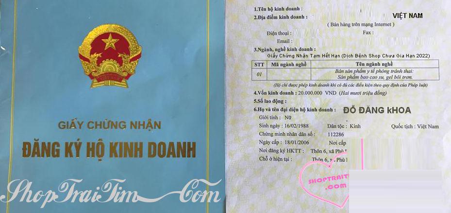 giấy chứng nhận đăng ký kinh doanh của shoptraitim.com