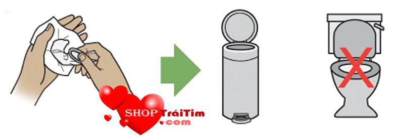 sử dụng xong bỏ bao cao su vào thùng rác