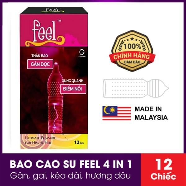 Bao Cao Su Feel Ultimate Pleasure For Him & Her 4 in 1