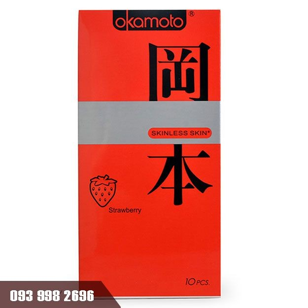 Bao cao su Okamoto Skinless Skin Strawberry hộp 10 chiếc