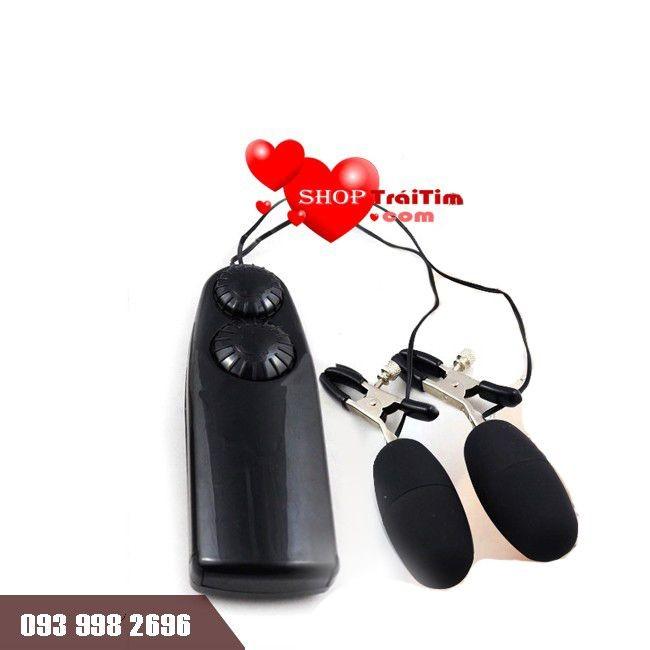 đồ chơi tình dục cho nữ máy massage trứng rung 2 đầu có kẹp ti