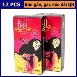 Đỉnh Cao Của Kéo Dài Quan Hệ Với Bao Cao Su Feel Ultimate Pleasure For Him & Her 4 in 1: 4 tính năng trong 1 kéo dài, siêu mỏng, gân - gai, hương dâu