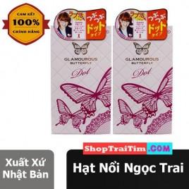 Sản Phẩm Cao Cấp Nhật Bản Bao Cao Su Jex Glamourous Butterfly Dot Hạt Ngọc Trai - Gel Bôi Trơn Cao Cấp, Gai Nổi Tự Nhiên Toàn Thân Bao