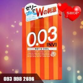 Bao cao su siêu mỏng Jex Invi 0.03 Hot & Cool - Cảm Giác Âm Phần Đầu Bao - The Mát Phần Cuối Bao