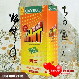 Bao cao su Okamoto Hot Dot – 1.350 hạt gai nổi toàn thân – Phủ gel tạo cảm giác ấm áp