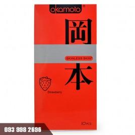 Bao cao su Okamoto Skinless Skin Strawberry hương dâu lãng mạn